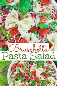 Bruschetta Pasta Salad recipe - This cold and healthy summer pasta salad is packed with tomato, basil, parmesan, and Italian flavors. It's the perfect Vegetarian Pasta Salad. / Running in a Skirt #healthy #recipe #vegetarian #bruschetta #pastasalad via @juliewunder Bruschetta Pasta Salad Recipe, Vegetarian Pasta Salad, Pasta Salad Italian, Vegetarian Recipes, Healthy Recipes, Tortellini Salad, Mexican Recipes, Healthy Food, Yummy Food