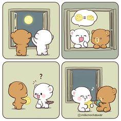 Cute Bunny Cartoon, Cute Couple Cartoon, Cute Cartoon Pictures, Cute Bear Drawings, Kawaii Drawings, Chibi Cat, Cute Love Gif, Cute Love Cartoons, Bear Wallpaper
