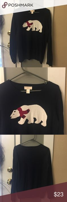 Final Price! 🎉🎉Loft Navy Bear Sweater Worn once, excellent condition. Navy with polar bear. Pic of materials in photos. Women's sweater LOFT Sweaters Crew & Scoop Necks