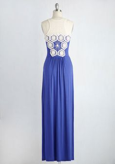 This royal blue maxi demonstrates that your fashion sense can keep going strong even as you relax! Keeping things chill with a crocheted motif detailing its straps, shoulders, and back, and providing added visual interest with its gathered waist, this low-key frock touts high-profile style.