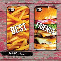 2pcs/lot BFF Best Friends Burger and Fries Funny Mobile Phone Cases for iPhone 6 6 plus 5c 5s 5 4 4s Case Cover Couple With Gift(China (Mainland))
