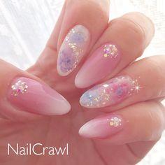 Make an original manicure for Valentine's Day - My Nails Kawaii Nail Art, Pink Nail Art, Glitter Nail Art, Pink Nails, My Nails, Beige Nails, Trendy Nail Art, Cute Nail Art, Nail Art Diy