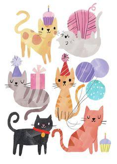 Happy birthday wishes, cat birthday, happy birthday doodles, happy birthday Cat Birthday, Happy Birthday Cards, Birthday Wishes, Art And Illustration, Illustrations, Kitty Party, Cat Drawing, Drawing Base, Birthday Images