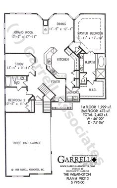 Wilmington House Plan # 98213, 1st Floor Plan, Ranch Style House Plans, One Story House Plans