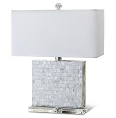Marconi Coastal Beach Mother of Pearl Square Table Lamp  $324