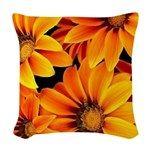 Orange Garden Flowers Woven Throw Pillow