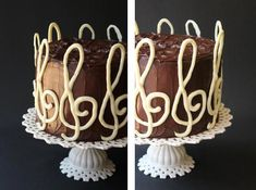 SugaryWinzyGClefBirthdayCake2 Chocolate Marble Cake, Melting White Chocolate, Vegetarian Bake, Round Cake Pans, Wax Paper, Cake Batter, Corn Syrup, Sour Cream, Cocoa