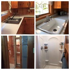 Check out these Before and After pictures from a lakefront home remodel in New Durham, NH.  The homeowners worked with Shelley at our Rochester, NH Showroom and selected products from Kohler's Sterling line and Woodland Cabinets.  Updated kitchen sink, toilet and shower!