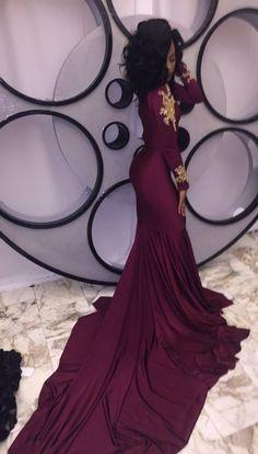 Burgundy Beading High-Neck Mermaid Stretch Satin Prom Dresses 2017