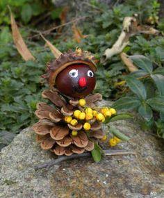 Basteln im Herbst » Bastelideen, Tannenzapfen, Kastanie, Männchen » Susannes Dekoparadies