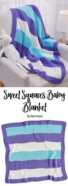 Sweet Squares Baby Blanket free crochet pattern in Soft Baby Steps yarn.