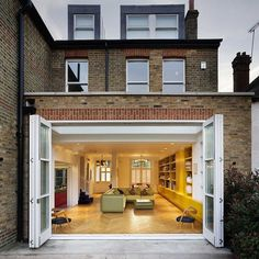 Contrasting older English architecture with modern day interior design comes the Chevron House by Andy Martin Architects. The house has the perfect Edwardian Architecture, Interior Architecture, Interior Design, Interior Paint, Modern Interior, Edwardian Haus, Folding Doors, House Extensions, Dream Homes