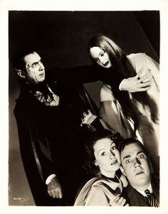 """Bela Lugosi, Carroll Borland and Elizabeth Allan and Henry Wadsworth from """"Mark of the Vampire""""."""