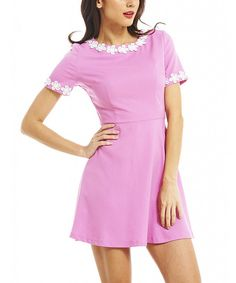 Look at this AX Paris Pink Flower-Trim Skater Dress on #zulily today!