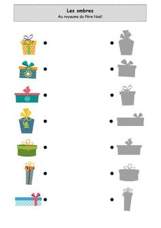 un peu comme a ecole les ombres - Basteln dekoration Preschool Christmas Activities, Christmas Worksheets, Preschool Worksheets, Toddler Activities, Winter Crafts For Kids, Diy For Kids, Dots Game, Kids Cuts, New Year's Crafts
