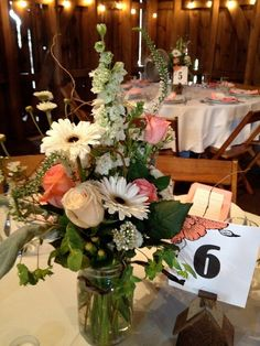 pintrest center pieces barn wedding' | Mason jar centerpieces for a casually elegant barn wedding | ideas