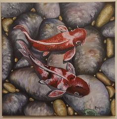 Free shipping,oil painting on canvas,koi fish, 50cm x50 cm by SoulArtAlina on Etsy Oil Painting On Canvas, Oil Paintings, Koi, Fish, Free Shipping, Handmade Gifts, Vintage, Kid Craft Gifts, Pisces