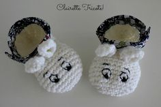 Les chaussons Moomin (tuto Inside)! /Moomin Baby Booties! Pattern in French.