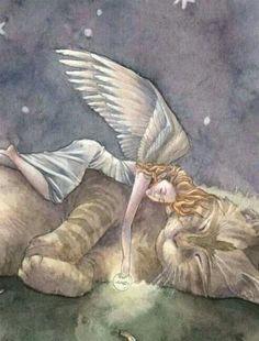 Sleeping Angel with Tabby Cat Art Print Moon I Love Cats, Crazy Cats, Cute Cats, Gato Angel, Animals And Pets, Cute Animals, Cat Art Print, Pet Loss, Angel Art