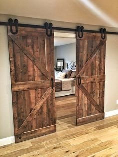 decoration - When we believe barn doors there's at first little to editorialize. Barn doors are a piece of homespun nation nostalgia? Well, guess what, these season sliding barn doors are getting a huge remodeling in a publication spread-worthy means. Barn Door Closet, Diy Barn Door, Barn Door Hardware, Bedroom Barn Door, Rustic Closet, Rustic Master Bedroom, Diy Sliding Barn Door, Master Bedroom Design, Barn Door Designs