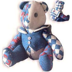 """This lovable Sailor Bear is fat quarter friendly & made from pieced squares with coordinate fabrics. Measuring 16"""" tall, he can also be constructed from old quilts that still have areas of life left in them or from your scrap collection of red, white & blues. Whatever fabrics you choose, Sailor Bear is sure to delight!"""