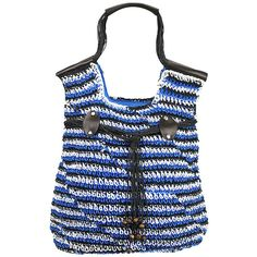 Blue Woven Crochet Toyo Lightweight Beach Bag Tote ($25) ❤ liked on Polyvore featuring bags, handbags, tote bags, zippered beach tote, straw beach bag, straw tote bags, straw beach tote and blue tote bag