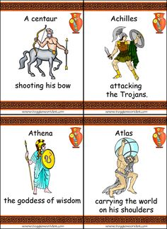 Greek Mythology cards -- can be used to play Go Fish or other games.  Find the rest of the cards at Boggle's World