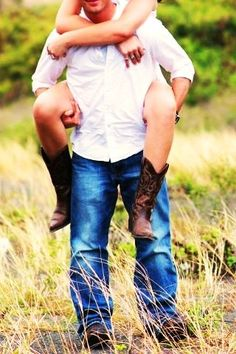 Every girl needs a piggyback ride in her sundress and boots with her cowboy