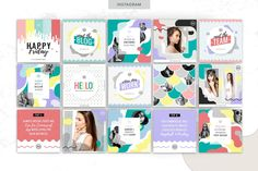 COLOR POP | Social Media   Is a fun and bold social media pack design inspired by the Memphis Trend & Pop Art Inspired Designs.