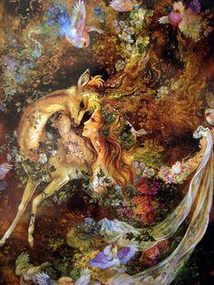 Persian Art - Woman with deer