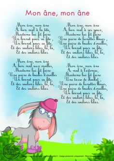 Songs And Nursery Rhymes Luxe Lyrics My Donkey Kids - Chansons Et Comptines Luxe Paroles Mon âne Enfants Songs And Nursery Rhymes Luxe Lyrics My Donkey Kids French Education, Kids Education, Lullaby Songs, French Poems, French Practice, French Nursery, Material Didático, French Kids, French Classroom