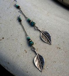 Dangle Earrings -  Long Silver Turquoise Blue Leaf Tribal Rustic South Western Bohemian