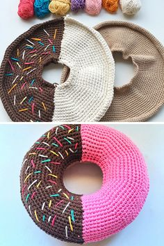 Riesen Donut Häkelanleitung – Patterns for Crochet Community Board - Crochet Food, Cute Crochet, Crochet For Kids, Crochet Yarn, Beautiful Crochet, Crochet Pillow Cases, Crochet Mobile, Knitted Cushions, Crochet Gratis