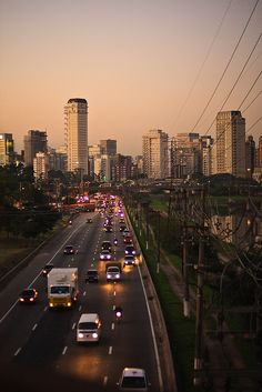 A sight at Marginal Pinheiros Highway in São Paulo in sunset time, a little after rush hour.