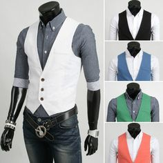 Newest Tuxedo Fashion Solid Vests Slim Fit Men's Joker Candy colored Waistcoat #New