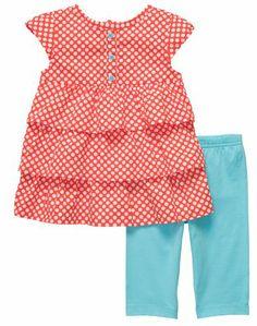 Carters 2-pc. Polka Dot Top & Legging Set RED/TURQUOISE 24 Mo, Carter's Infant Woven Knit Capri Set - Orange, #Apparel, #Pant Sets
