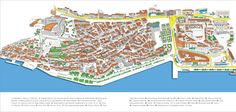 Old city center - map Dalmatia Croatia, Old City, City Photo, Tourism, Map, Turismo, Old Town, Location Map, Maps