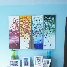 Easy Seasons Tree Painting idea - This is beautiful! Looks like a little work though Tree Wall Art, Diy Wall Art, Tree Art, Diy Art, Button Art, Button Crafts, Class Art Projects, Diy Projects, Crafts To Do