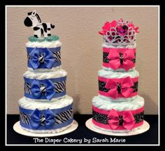 Boy & Girl  animal print Diaper Cakes for twins =)