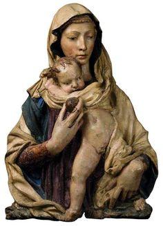 Donatello. Virgen de la granada.Hacia 1420.Terracota policromada. Museo Stefano Bardini. Florencia.