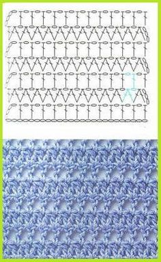 Basic chain: multiples 2 + double crochet into the chain from the hook. Crochet stitches, Crochet stitches chart and Crochet stitches patternsGranny squares again. This stitch would add nice interest in between fancier ones. Could see attempting the Crochet Stitches Chart, Crochet Motifs, Crochet Diagram, Crochet Patterns, Crochet Squares, Diagram Chart, Afghan Patterns, Gilet Crochet, Tunisian Crochet