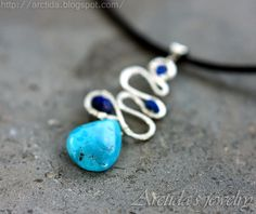 Arctida's creations: Galene - Turquoise and Lapis lazuli necklace in sterling silver. Handmade gemstone jewelry by Arctida.