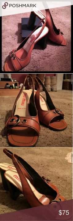 Miu Miu Platform Heels Size 9 beautiful open toe sling backs heels  in excellent condition. Worn only a couple times. Gorgeous cognac color, perfect with a summer dress or bootcut jeans. Miu Miu Shoes Heels