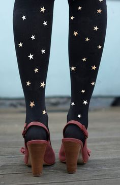 The stars are printed on both legs on both sides and go from toe to thigh. It is super-cute with a black dress or skirt. Handwash only. 89%