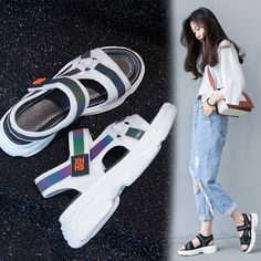 Sneaker sandals styles are in full swing this summer. Their base is as comfortable as that of a sneaker and they are as trendy as gorgeous and airy sandals. Korean Sandals, Korean Shoes, Mens Fashion Shoes, Sneakers Fashion, Fashion Top, Cheap Fashion, Fila Sandals, Flatform Sneakers, Shoes Sneakers