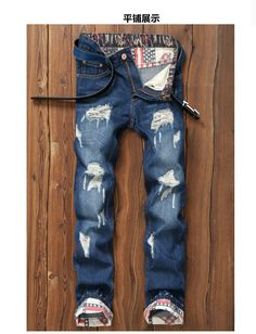 7e15b58af76 2016 new Men's casual hole patch ripped jeans Slim fit patchwork print denim  pants Fashion zipper pocket long locomotive jeans-in Jeans from Men's  Clothing ...