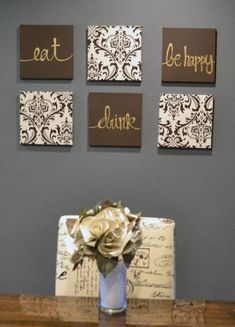 Brown and Cream Eat Drink & Be Merry Wall Art Pack of 6 Canvas Wall Hangings Hand Painted Fabric Dining Room Decor Kitchen Decoration Classy Fabric Wall Art, Hand Painted Fabric, Canvas Wall Decor, Diy Canvas, Fabric Painting, Canvas Art, Canvas Quotes, Canvas Prints, Dining Room Wall Decor