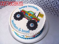 Monster Truck B Day Cake Iced In Bc With Mmf Decorations And Cookies To Match Monster truck b-day cake. iced in bc with MMF decorations and. Monster Truck Cookies, Monster Truck Birthday Cake, 4th Birthday Cakes, Birthday Ideas, 10th Birthday, Cute Cakes, Yummy Cakes, Slab Cake, Truck Cakes