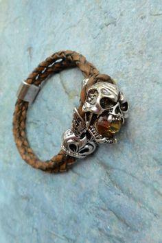 Homemade brown bracelet / braided leather door JHFWBeadsAndFindings
