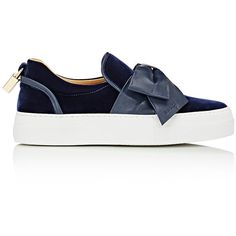 """Buscemi Women's \""""40MM Bow\"""" Sneakers ($750) ❤ liked on Polyvore featuring shoes, sneakers, scarp, navy, round toe sneakers, polish shoes, bow shoes, slip on sneakers and slip-on shoes"""